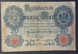 EBN5 - Germany 1906 Banknote 20 Mark Pick 25b #E.5860907 - [ 2] 1871-1918 : German Empire