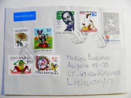 Cover Sent From Czech Rep. 2018 7 Post Stamps Dog Butterfly Frog Mole - Czech Republic