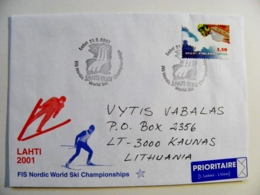 Cover Sent From Finland 2001 Special Cancel Lahti Sport Skiing Ski Jumping - Finland