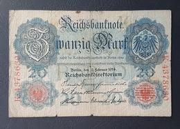 EBN5 - Germany 1906 Banknote 20 Mark Pick 25b #K.4378630 - [ 2] 1871-1918 : German Empire