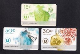 3  Carte Cadeau SUPER U  PLOUGASTEL (29).   Gift Card. Geschenkkarte - Cartes Cadeaux