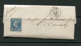 Lettre De 1863 De MONTLUCON (3)- Y&T N°22- GC 2484 - 1862 Napoleone III
