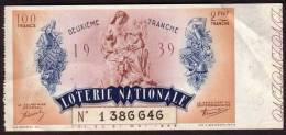 LOTERIE NATIONALE - 1939 - Billet Entier 100F.- 2 ème Tranche - Billets De Loterie
