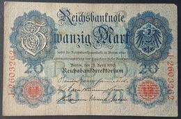 EBN5 - Germany 1906 Banknote 20 Mark Pick 25b #J.2603262 - [ 2] 1871-1918 : German Empire