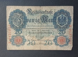 EBN5 - Germany 1906 Banknote 20 Mark Pick 25b #A.9157022 - [ 2] 1871-1918 : Duitse Rijk