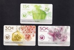 3  Carte Cadeau SUPER U  CHATEAU LA VALLIERE (37).    Gift Card. Geschenkkarte - Cartes Cadeaux