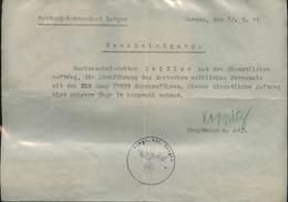 WW II Militär Blatt , Festungskommandant Bergen Norwegen , Auftrag Zur  Rückführung Des Deutschen Weiblichen Personal: - Covers & Documents