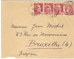 France 1947 - Lettre De Marle, Aisne à Bruxelles, Belgique - Cérès 676 - 3 X 716 Marianne De Gandon - France