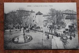 AUBENAS (07) - LE CHAMP DE MARS ET STATUE J. MATHON - Aubenas