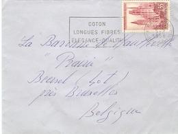 """France 1958 - Lettre De Paris à Beersel, Belgique - Flamme """"Coton, Longues Fibres Elégance - Qualité"""" - YT 1129 - Oblitérations Mécaniques (flammes)"""