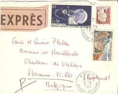 France 1963 - Lettre EXPRES De Autun à Hamme-Mille, Belgique - Via Mâcon/Paris/Bruxelles (cachets Au Dos) - 1263/1355/61 - France