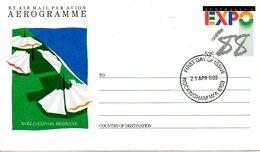 AUSTRALIE. Aérogramme Avec Oblitération 1er Jour De 1988. Expo'88 à Brisbane. - Expositions Universelles