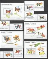WW976 SIERRA LEONE FAUNA BUTTERFLIES #1651-62 MICHEL 48 EURO !!! BIG SET+4BL MNH - Papillons