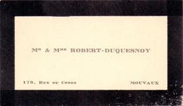 Visitekaartje - Carte Visite - Mr & Mme Robert - Duquesnoy - Mouvaux - Cartes De Visite