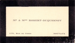 Visitekaartje - Carte Visite - Mr & Mme Robert - Duquesnoy - Mouvaux - Visiting Cards