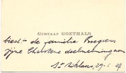 Visitekaartje - Carte Visite - Gustaaf Goethals - St Niklaas 1927 - Cartes De Visite