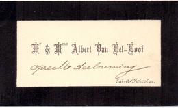 Visitekaartje - Carte Visite - Mr & Mme Albert Van Bel - Loof - Saint Nicolas - St Niklaas - Cartes De Visite