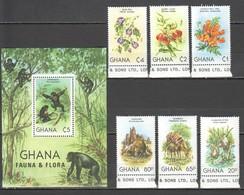 WW981 GHANA FAUNA & FLORA WILD ANIMALS FLOWERS #921-27 MICHEL 17 EURO BL+SET MNH - Timbres