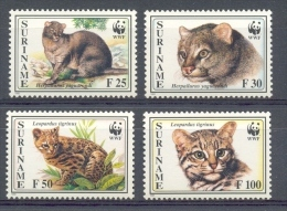 Ncw185s FAUNA WWF WILDE KAT ROOFKAT WILD CAT KLEINKATZEN SURINAME 1995 PF/MNH - W.W.F.