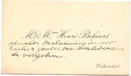 Visitekaartje - Carte Visite - Mr & Mme Henri Bekaert - Watervliet - Cartes De Visite