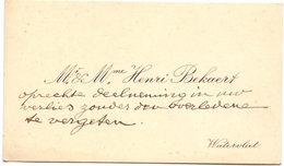 Visitekaartje - Carte Visite - Mr & Mme Henri Bekaert - Watervliet - Visiting Cards