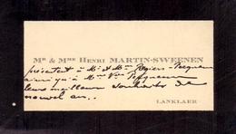 Visitekaartje - Carte Visite - Mr & Mme Henri Martin - Sweenen- Lanklaar - Visiting Cards