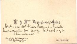 Visitekaartje - Carte Visite - Mr & Mme Vandenbroucke - Cabuy - Maldegem - Visiting Cards