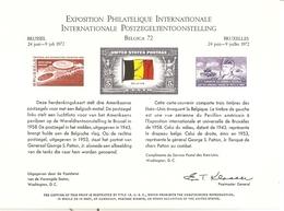 Belgique - Feuillet Exposition Philatélique Internationale  Belgica 72 - Carte Souvenir Du Service Postal Des Etats-Unis - Feuillets