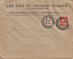 DOUBS ENV 1915 CONVOYEUR HERIMONCOURT A MONTBELIARD - Marcophilie (Lettres)