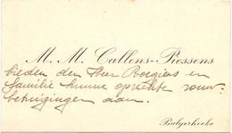 Visitekaartje - Carte Visite - Mr & Mme Callens - Piessens - Balgerhoeke - Cartes De Visite
