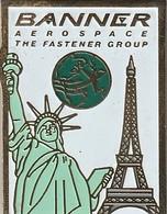 Rare Pin's Banner Aérospace USA-FRANCE - Pin's
