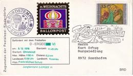 AUTRICHE 1976 LETTRE PAR BALLON DE CHRISTKINDL THEME  NOEL - Globos