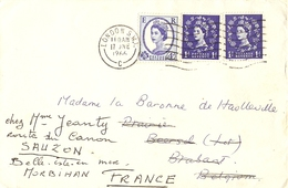 Grande-Bretagne 1966 - Lettre De Londres à Beersel/Belgique - Reroutée Sauzon/Belle Ile En Mer - Cachet Watermael 263/68 - 1952-.... (Elizabeth II)