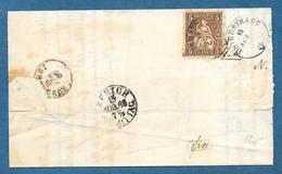 1866 5c. HELVETIA UNTERSTRASS ZURICH - 1862-1881 Helvetia Seduta (dentellati)