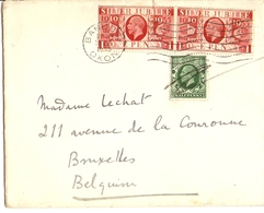 Grande-Bretagne 1935 - Lettre De Banbury Oxon à Bruxelles, Belgique - George V Silver Jubilee 202 X 2 - 187 - Lettres & Documents