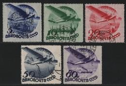 Russia / Sowjetunion 1934 - Mi-Nr. 462-466 Gest / Used - Mit WZ - Luftfahrt (2) - 1923-1991 UdSSR