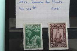 1934     -   475  à  476 *    SEMAINE  DES  FRUITS  COTE  :  8,00€ - 1918-1948 Ferdinand, Charles II & Michael
