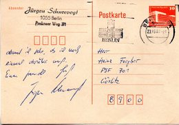 """DDR Amtl. GZS-Postkarte P86I 10Pf.orange """"Palast Der Republik, Berlin"""" MWSt  23.3.87 BERLIN BPA """"750 Jahre Berlin"""" - DDR"""