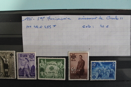 1935     -   481  à  485 *    5ème  ANNIVERSAIRE  AVENEMENT D E  CHARLES  II     COTE   : 40,00€ - 1918-1948 Ferdinand, Charles II & Michael