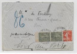 PNEUMATIQUE - 1919 - SEMEUSE PAIRE De CARNET ! - ENVELOPPE De PARIS 106 - ANNOTATION Du FACTEUR AU DOS - Marcophilie (Lettres)