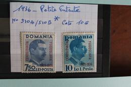 1936     -   510A  à  510B *    10ème  ANNIVERSAIRE  DE  LA  PETITE  ENTENTE     COTE   : 10,00€ - 1918-1948 Ferdinand, Charles II & Michael