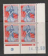 FRANCE N° 1234 0.25BLEU ET ROUGE TYPE MARIANNE A LA NEF COIN DATE DU 14.12.1959 - Coins Datés