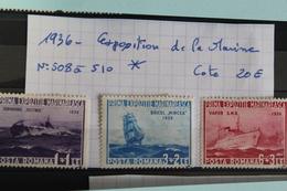1936     -   508  à  510 *    1ère   EXPOSITION  DE  LA  MARINE     COTE   : 20,00€ - 1918-1948 Ferdinand, Charles II & Michael