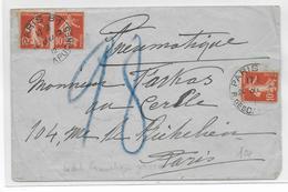 PNEUMATIQUE - 1912 - SEMEUSE - ENVELOPPE De PARIS 81 - - Marcophilie (Lettres)