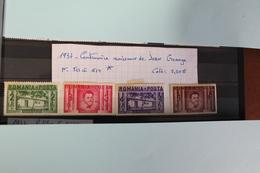 1937     -   511  à  514 *    CENTENAIRE  DE  LA  NAISSANCE  DE  IOAN  CREANGA    COTE   : 6,00€ - 1918-1948 Ferdinand, Charles II & Michael