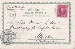 SUEDE 1903 CARTE POSTALE PAR VOIE FERROVIAIRE ET MARITIME DE TRELLEBORG-SASSNITZ POUR MUNICH - Sweden