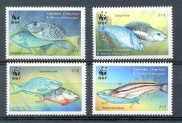 Nbx288s WWF FAUNA VISSEN PAPEGAAIVIS PARROTFISH FISH FISCHE POISSONS MARINE LIFE GRENADA GRENADINES 2001 ONG/MH+3xPF/MNH - W.W.F.