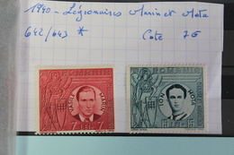 1940     -   642  à  643 *        LEGIONAIRES  MARIN  ET  MOTA        COTE   :    7,00€ - 1918-1948 Ferdinand, Charles II & Michael