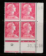 FRANCE N° 1011 15F ROSE CARMINE TYPE MULLER COIN DATE DU 30.1.1956 NEUF SANS CHARNIERE - Coins Datés