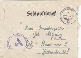 Feldpost Nr 50529, Faltbrief Eines Leutnants Mit Inhalt, Stempel: Feldpost B - 13.2.44, Nebenst: Lufgaupostamt FPN 35774 - 1939-45